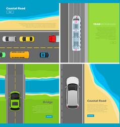 modern highway flat web banners set vector image vector image