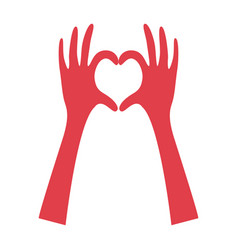 pink hands stand up doing the heart vector image
