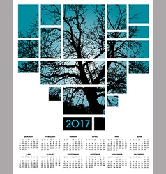 A 2017 tree and nature calendar vector image