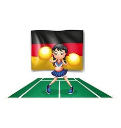 A cheerleader in front of the German flag vector image vector image