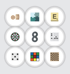 flat icon play set of chess table lottery cube vector image
