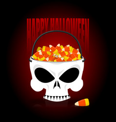 happy halloween skull basket candy corn trick or vector image vector image