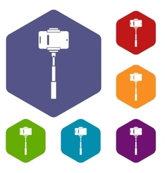 Mobile phone on a selfie stick icons set vector image vector image