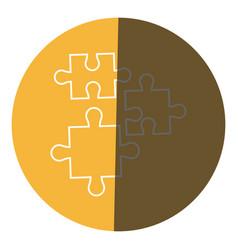 puzzle pieces object shape work icon circle vector image