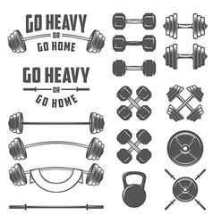 Set of vintage gym equipment design elements vector