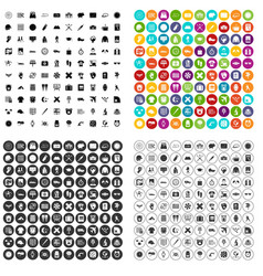 100 time icons set variant vector