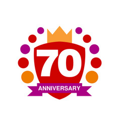 70th anniversary colored logo design happy vector image