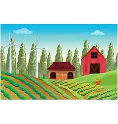 A farm with windmills and two wooden houses vector