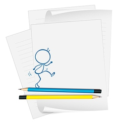 A paper with a sketch of a person walking vector image