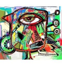 Abstract digital painting artwork doodle bird vector