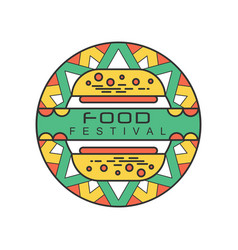 Abstract logo template for food festival colorful vector