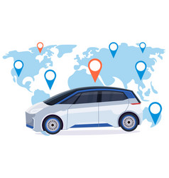 automobile with location pin online ordering taxi vector image