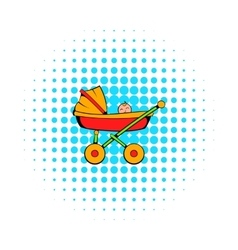 Baby carriage icon comics style vector