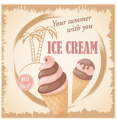 banner with summer chocolate ice cream vector image
