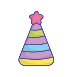 Bashower party hat with star stripe color icon vector