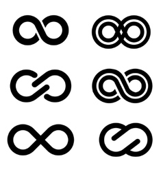 Black infinity icons set vector