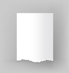 Blank sheet of torn paper on grey vector