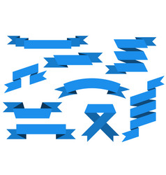 blue paper scrolls set vector image