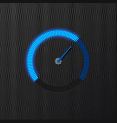 Blue speedometer on carbon background vector