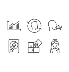 Breathing exercise puzzle and hdd icons set face vector