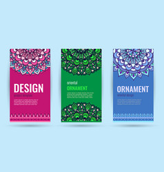 Business cards with mandala elegant cover vector