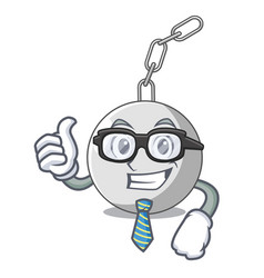 Businessman wrecking ball hanging from chain vector