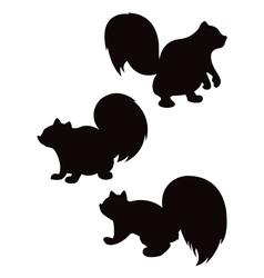 Cartoon squirrel silhouettes vector