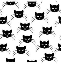 cartoons cat muzzle pattern seamless vector image