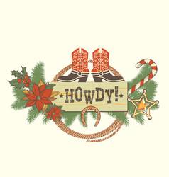Christmas decoration with traditonal american vector