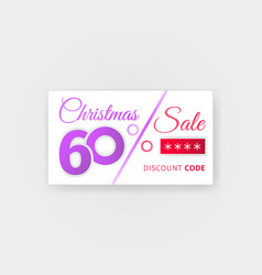 Christmas sale 60 percent discount coupon vector