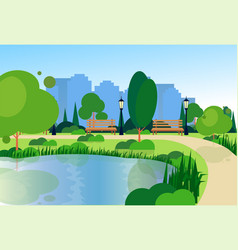 city park wooden bench street lamp river green vector image