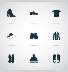 clothes icons set with boots sandal briefs vector image