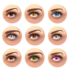 Colorful eyes with different pupils set vector