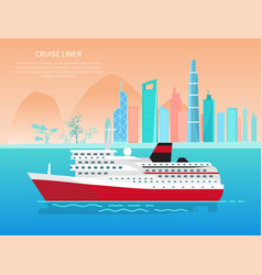 Cruise liner banner and text vector