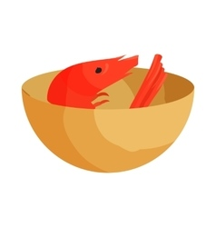 Cup with shrimp icon cartoon style vector