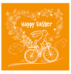 cute easter rabbit on city bicycle with gift egg vector image