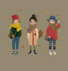 cute fashion girls trendy autumn outfits vector image