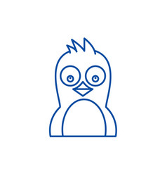 cute penguin line icon concept cute penguin flat vector image