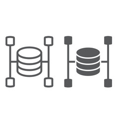 Data warehouse line and glyph icon vector