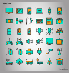 device and technology color line icons perfect vector image