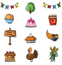 Doodle of element thanksgiving set vector image