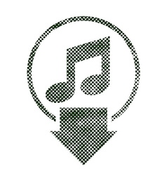 Download music icon with halftone print dots vector
