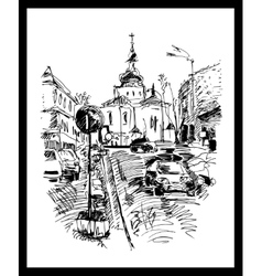 Drawing of Kyiv street Podol Ukraine vector