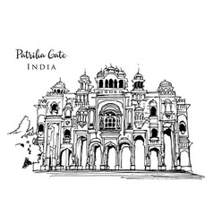Drawing sketch patrika gate in india vector