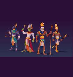 Egyptian gods anubis ra amon osiris characters vector