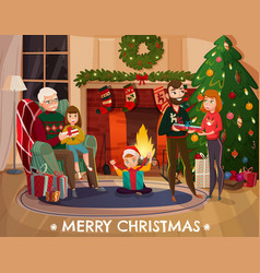 Family christmas congratulation vector