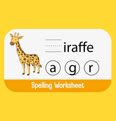 Find missing letter with giraffe vector