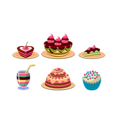 Flat set of tasty desserts appetizing vector