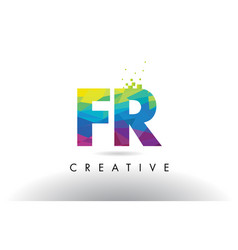 fr f r colorful letter origami triangles design vector image