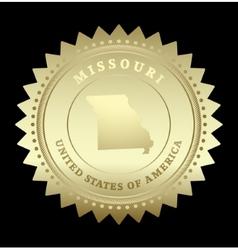 Gold star label Missouri vector